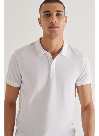 Avva Erkek Polo Yaka Düz T-Shirt A11B1146 Beyaz